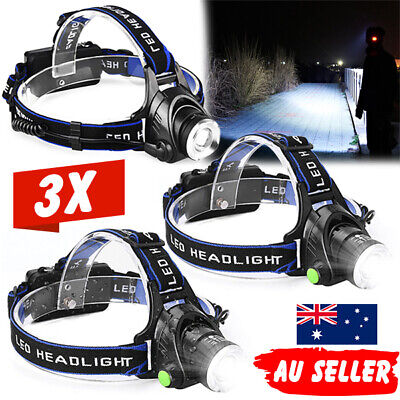 3X LED Headlamp Rechargeable Light Head Torch CREE 21000LM XML T6 Adjustable AU
