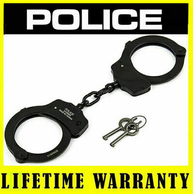 POLICE Double Lock Professional Steel Metal Black Handcuffs With Keys