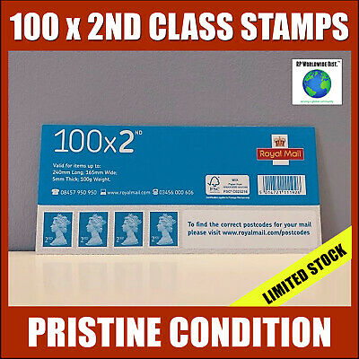 100 x 2nd Class Postage Stamps NEW GENUINE Self-Adhesive Stamp FAST POST Second