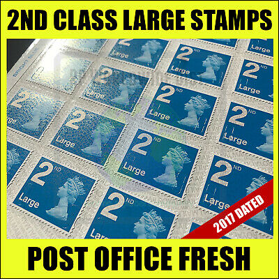 2nd Class LARGE Postage Stamps x100 BRAND NEW GENUINE Self-Adhesive Stamp Second