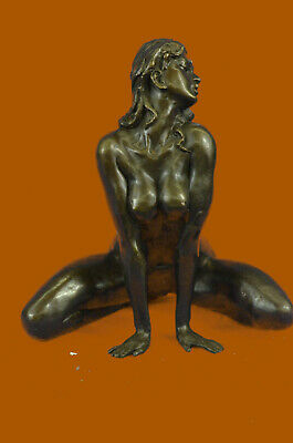 Deco Sculpture Nude West Signed Statue Naked Woman girl Bronze Marble Art Deco