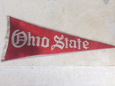 "*RARE VINTAGE ANTIQUE 1920s,1930s OHIO STATE 32"" STITCHED FELT FOOTBALL PENNANT*"