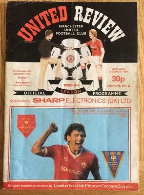 Manchester United Barcelona Programme 21/3/1984 European Cup Winners' Cup