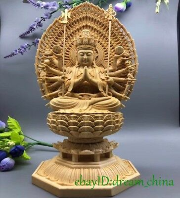 Fine Boxwood hand carved Display beautiful Thousand-hand Bodhisattva Kuanyin 11""