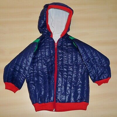 VINTAGE 1980's UNWORN BOYS NAVY BLUE & RED QUILTED HOODED ANORAK AGE 18 MONTHS