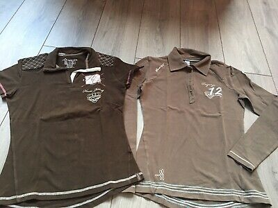 Décathlon FOUGANZA Lot 2 Polo Haut Tee Shirt Équitation Marron T36 Tbe