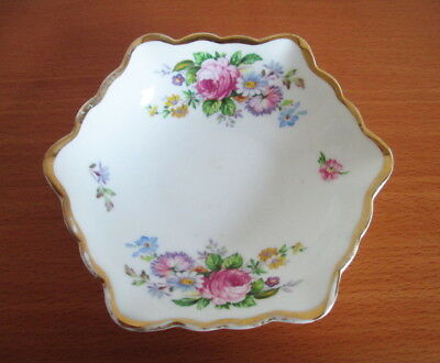 Salisbury 6 Sided Trinket Dish Pink Peony Flower Spray 1930s Bone China England