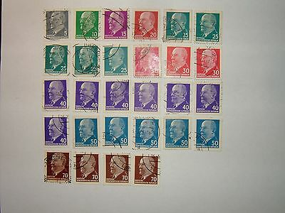 1961-71 DDR EAST GERMANY WALTER ULBRICHT STAMPS x 28 VFU