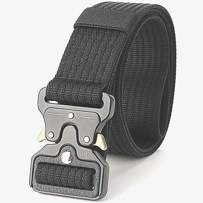 Mens Heavy Duty Military Black Belt Army Tough Buckle Strong Equipment Tactical