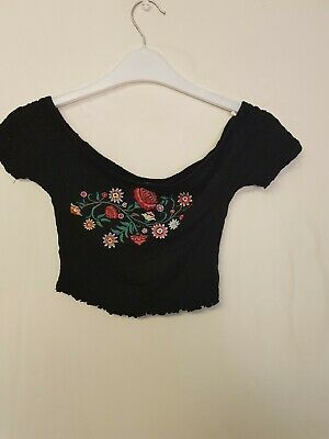 7e0d2cba5bb ladies black floral embroidered bandeau cropped top by Primark size 8