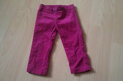 Baby Girls Monsoon Cerise Velour Trousers Age 3-6 Months