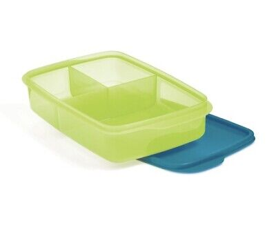 Tupperware Large Lunch-It Divided Dish Lunch Container - - Salsa Verde/peacock