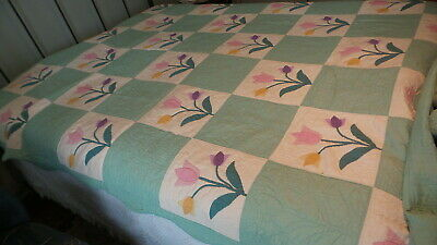 """Antique Appliqued QUILT, TULIP PATTERN 88""""X68"""" Purple,Pink,Yellow on Green #1"""
