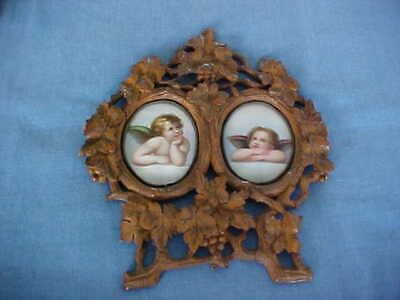 Antique Black Forest Carved Wood Frame Raphael's Two Chubby Cherubs On Porcelain