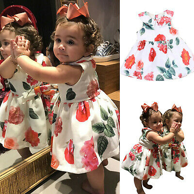 Baby Girl Clothe Floral Princess Party Sleeveless Dresses Outfits Infant Newborn