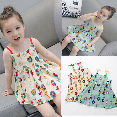 Baby Girls Cartoon Floral Sleeveless Strap Princess Dress Outfits Toddler Infant