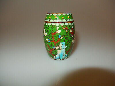 Chinese Barrel Shaped Cloisonne Trinket Box 1950
