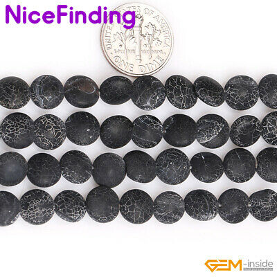 Natural Frosted Freeform White Crack Black Agate Matte Stone Beads For Jewelry