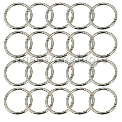 20pcs Metal Round O Rings Webbing Belts Buckle Slide for Bags Purse Craft 38mm