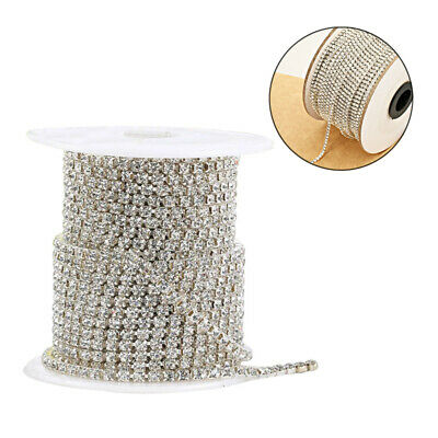 1 Roll Silver Diamante Crystal Rhinestone Chain Trim DIY Necklace 10 Meters