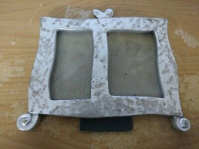 7.75In X 7In Metal 2 Slot Picture Frame W Hinged Display Stand Arm Home Decor