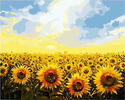 """16X20/"""" Sunflower plantation Paint By Number DIY Acrylic Oil Painting Canvas 2175"""