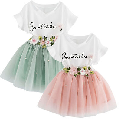 2PCS Toddler Baby Kids Girls Outfit Printing T-Shirt Tops+Floral Skirt 1Set 2-8T