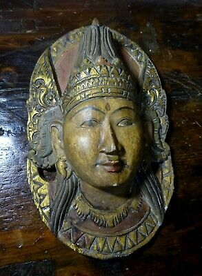 Early to mid 20th C SE Asian Carved Polychrome & Gold Leaf Deity Wooden Mask