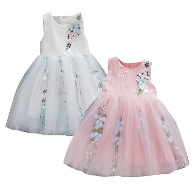 Girl Sleeveless Solid Tulle Skirt Floral Party Princess Toddler Baby Dress 3-24M