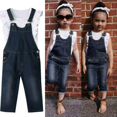 2Pcs Girls Outfits Tops Vest + Overalls Jeans Pants Toddler Kids Baby 1 Set 1-6T