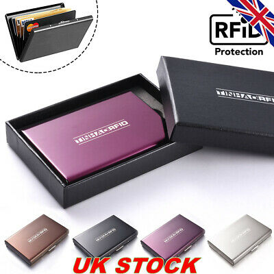 Credit Card Holder Leather RFID Blocking Anti-Scan Metal Wallet Money Clip MT569
