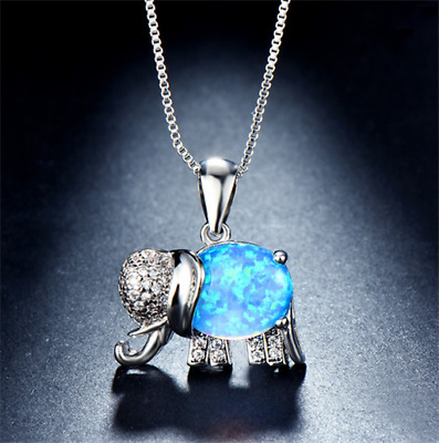 Lovely Blue Fire Opal Elephant Pendant Charm 925 Silver Necklace Chain Jewelry