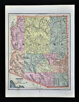 c 1890 Cram Map Arizona Phoenix Tucson Tombstone Flagstaff Prescott Antique