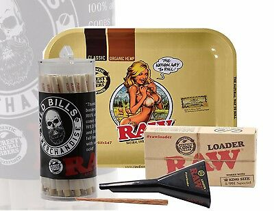 Raw Cones Pre Rolled King Size Organic 50 Count W Raw Tray And Raw Loader