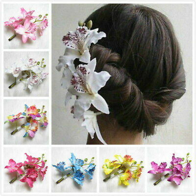 Women's Hair Clip Pin Butterfly Bridal Flower Barrette Party Wedding Prom Orchid