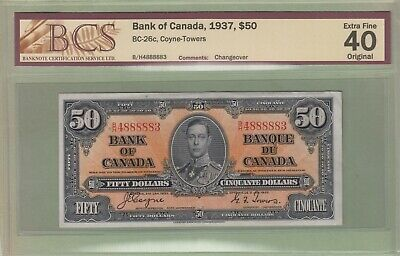 1937 Bank of Canada 50 Dollars Note - Coyne/Towers - B/H4888883 - EF40