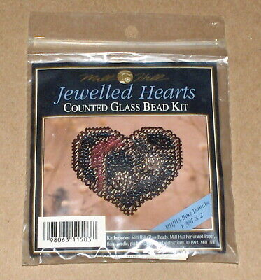 """1992 Mill Hill """"Blue Danube"""" Jewelled Hearts Counted Glass Bead Kit"""