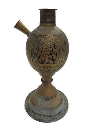 Vintage Brass Hookah Base Pipe Hand Smoking Shisha Old Carved Hukka India