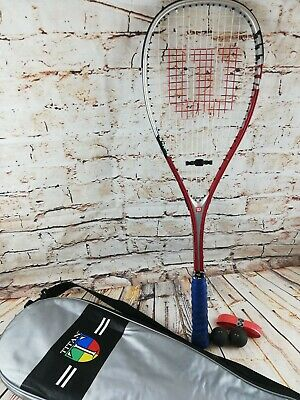 Wilson Punisher Titanium Squash Racket- With Cover- Good Condition- Silver & Red