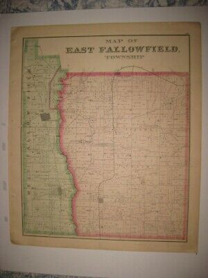 Antique 1876 East & Fairfield Township Crawford County Pennsylvania Handcolr Map