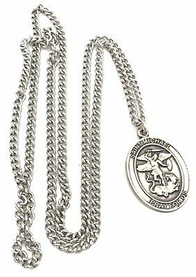 Saint Michael Pray For Us Religious Pendant Necklace Sterling Silver US Marines