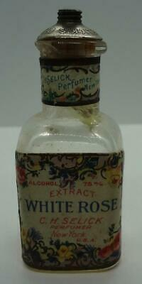 Antique Glass Perfume Bottle Selick White Rose New York With Tax Stamp