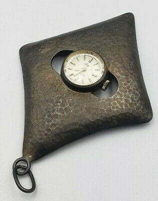 Midcentury Italian Sterling Hammered Pendant Watch Running Beautiful Patina