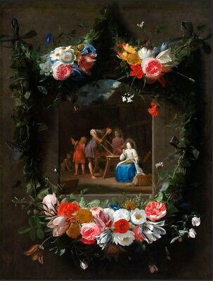 "oil painting on canvas""Garland of Flowers Surrounding the Holy Family"" N10942"