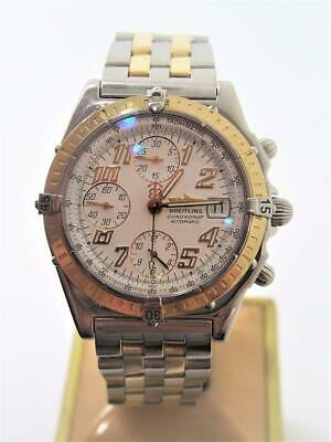 9f700f5e7ef S/Steel & 18k BREITLING CHRONOMAT Chronograph Automatic Watch D13050.1*  EXLNT