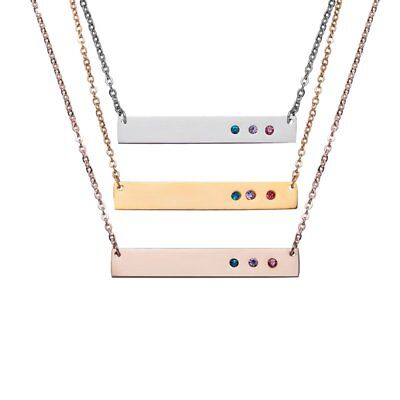 Personalized Stainless Steel Crystal Pendant Engraved Charm Necklace Family Gift