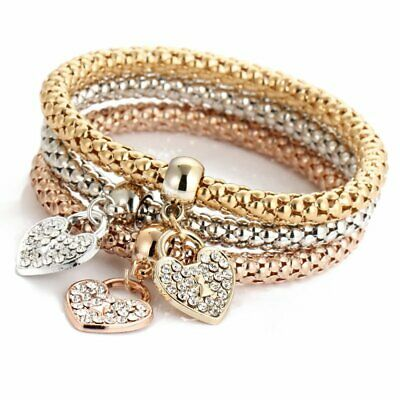 Women 3Pcs Gold Silver Rose Gold Bracelets Set Rhinestone Bangle Jewelry Gift