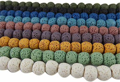 Multi-Colors Natural Volcanic Lava Rock Stone Loose Beads Spacers Jewelry Craft