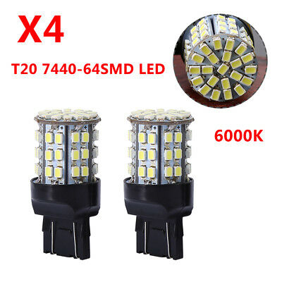 4Pcs T20 7440 7443 64 SMD White 6000K Reverse Brake Tail LED Bulb Light Lamp 12V
