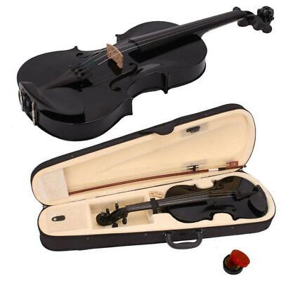 1/2 Size Black 4Strings Acoustic Violin Set with Case Bow Rosin